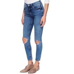 Free People High Rise Busted Knee Jeans